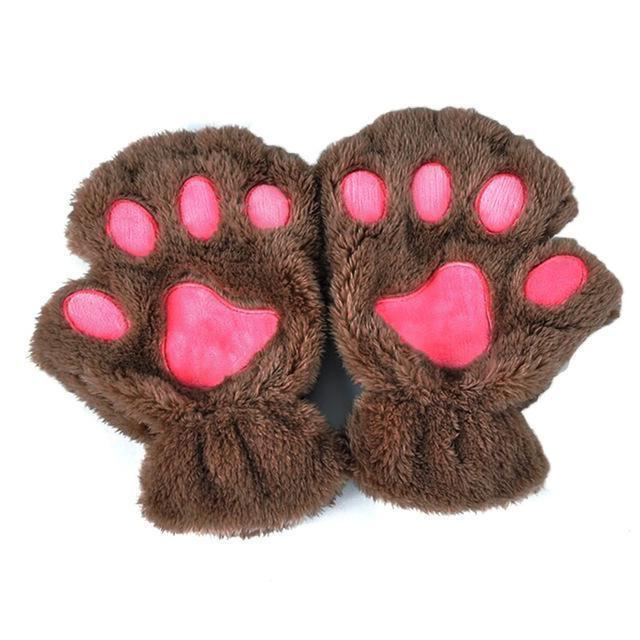 Women Plush Animal Paw Design Finger Less Gloves-Khaki-JadeMoghul Inc.