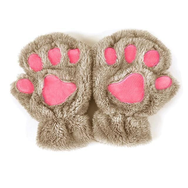 Women Plush Animal Paw Design Finger Less Gloves-Light Coffee-JadeMoghul Inc.