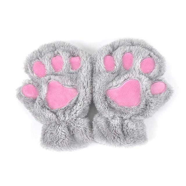 Women Plush Animal Paw Design Finger Less Gloves-Light Grey-JadeMoghul Inc.