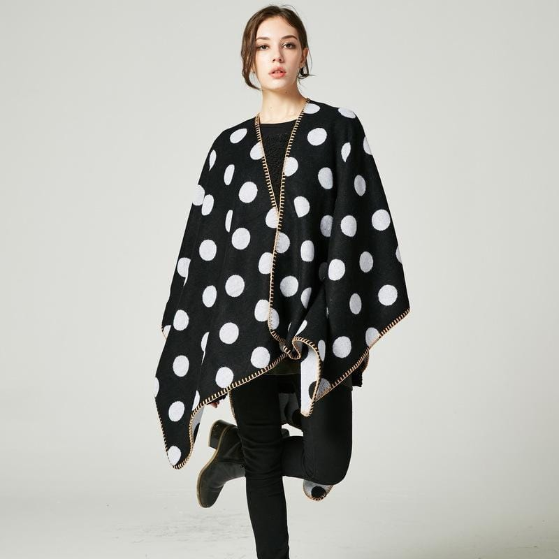 Women Polka Dot Cape /Poncho Wrap-1-JadeMoghul Inc.