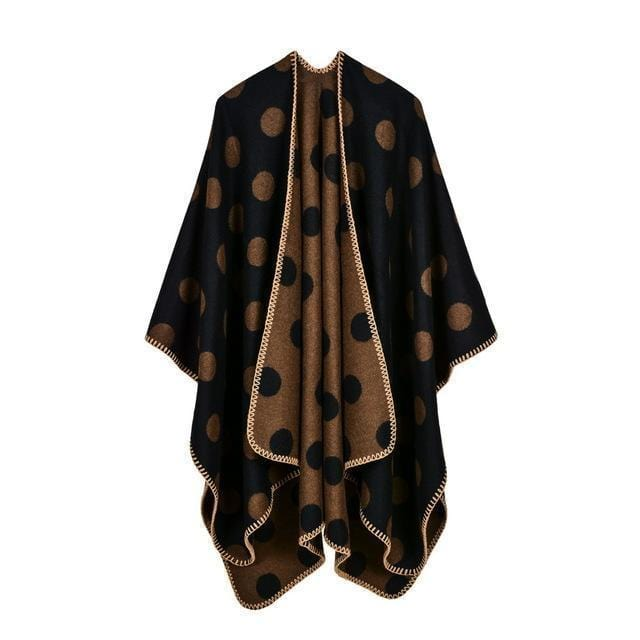Women Polka Dot Cape /Poncho Wrap-2-JadeMoghul Inc.