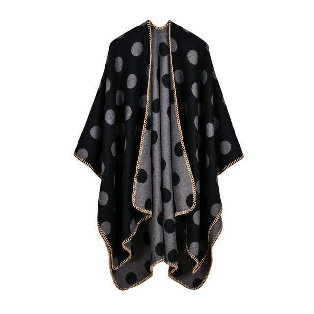 Women Polka Dot Cape /Poncho Wrap-3-JadeMoghul Inc.