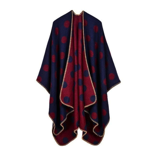 Women Polka Dot Cape /Poncho Wrap-7-JadeMoghul Inc.