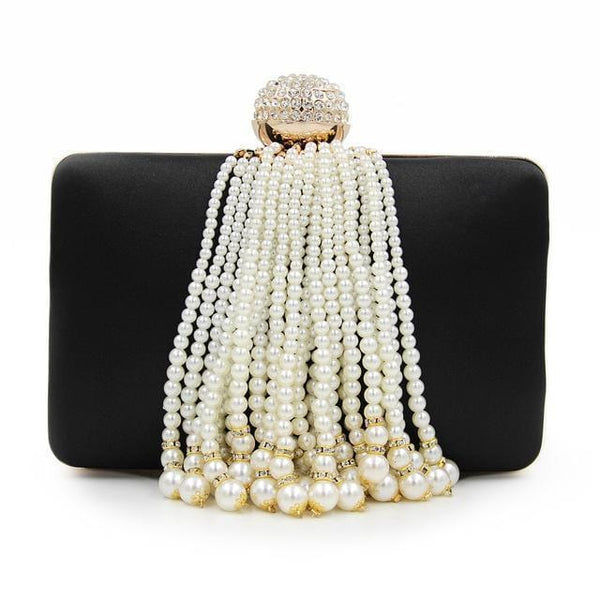 Women Precious Evening Clutch With Luxurious Pearl Tassels-Black-Mini(Max Length<20cm)-JadeMoghul Inc.