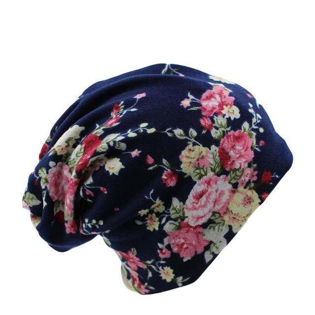 Women Printed Machine Knit Hat/ Beanie-flower-JadeMoghul Inc.