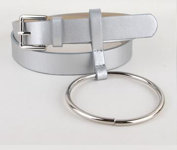 Women PU Leather Slim Belt With Decorative Heavy Metal Loop-all silver-JadeMoghul Inc.