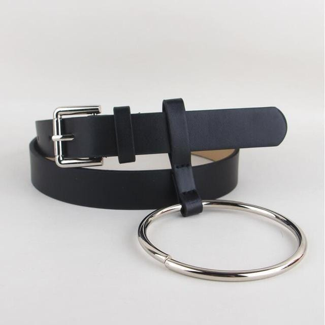 Women PU Leather Slim Belt With Decorative Heavy Metal Loop-black silver-JadeMoghul Inc.