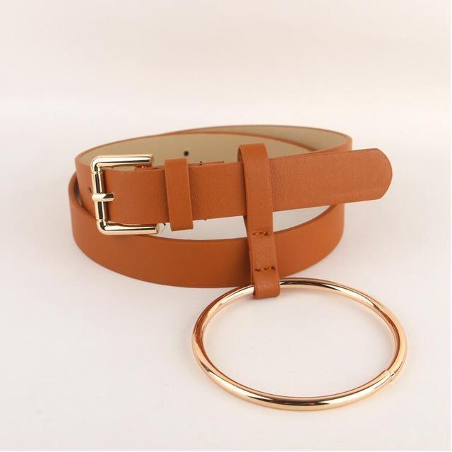 Women PU Leather Slim Belt With Decorative Heavy Metal Loop-brown gold-JadeMoghul Inc.