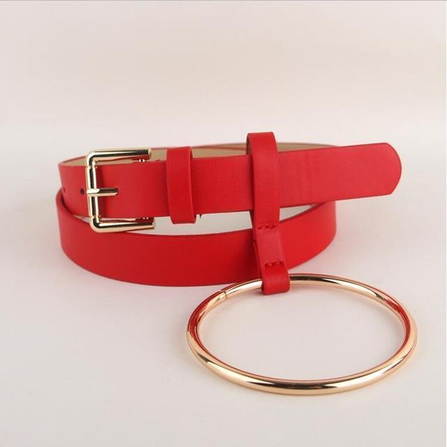 Women PU Leather Slim Belt With Decorative Heavy Metal Loop-red gold-JadeMoghul Inc.