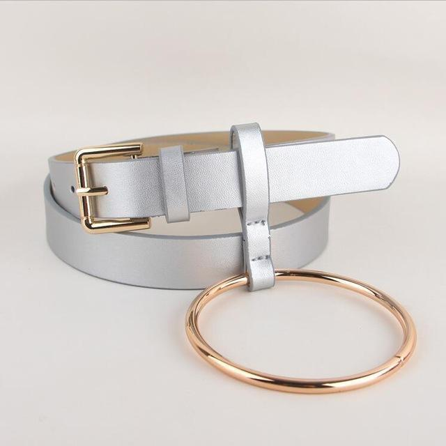 Women PU Leather Slim Belt With Decorative Heavy Metal Loop-silver gold-JadeMoghul Inc.