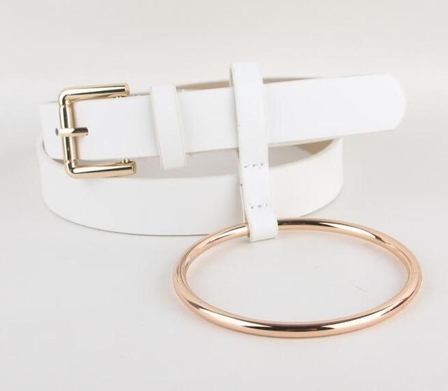 Women PU Leather Slim Belt With Decorative Heavy Metal Loop-white gold-JadeMoghul Inc.