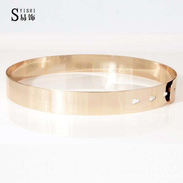 Women Punk Full Metal Mirror skinny Waist Belt 2016 Metallic Gold Plate 3cm Wide Chains Lady ceinture sashes for dresses BL02-2-Gold-62 to 72 cm-JadeMoghul Inc.