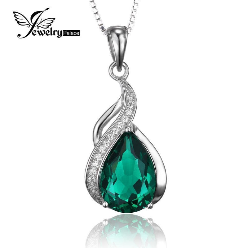 Women Pure 925 Sterling Solid Silver Emerald Pendant--JadeMoghul Inc.