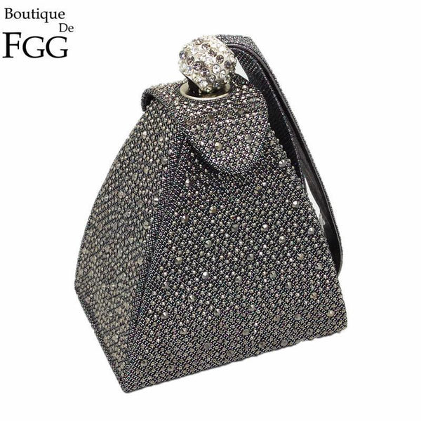 Women Pyramid Shaped Evening Wristlet With Rhinestone Detailing-same as photo-JadeMoghul Inc.