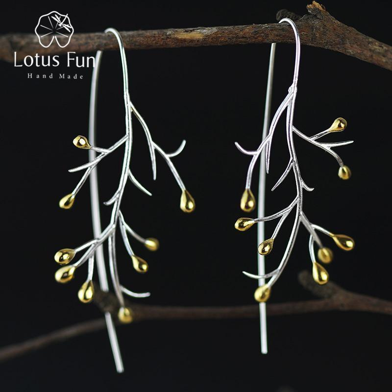 Women Real 925 Sterling Silver Creative Handmade Tree Branch Drop Earrings--JadeMoghul Inc.