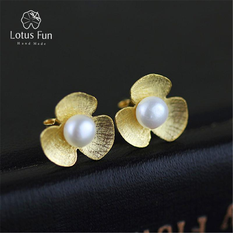 Women Real 925 Sterling Silver Natural Pearl Handmade Flower Stud Earrings--JadeMoghul Inc.
