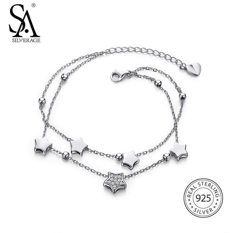 Women Real 925 Sterling Silver Star Charm Bracelet--JadeMoghul Inc.