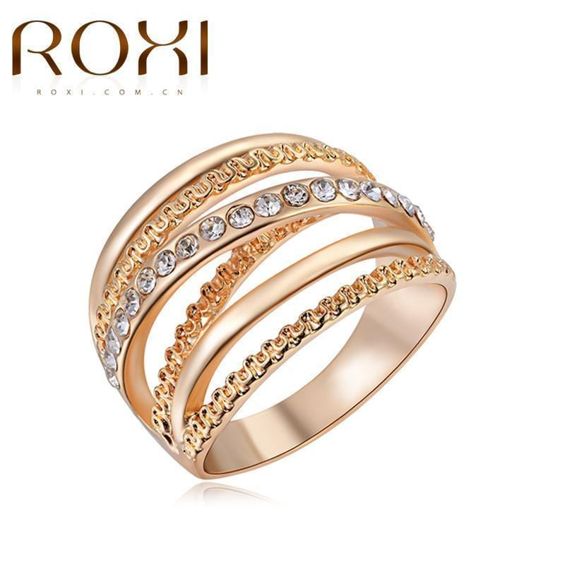 Women Rose Gold Color Formal Ring With Crystal Setting-6-Rose Gold Color-JadeMoghul Inc.