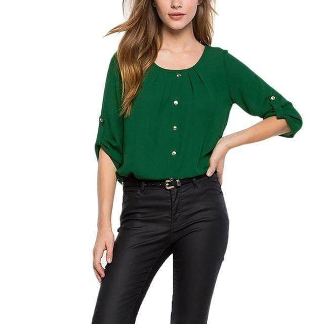 Women Round Neck Pleated Button Decor Chiffon Shirt Top AExp