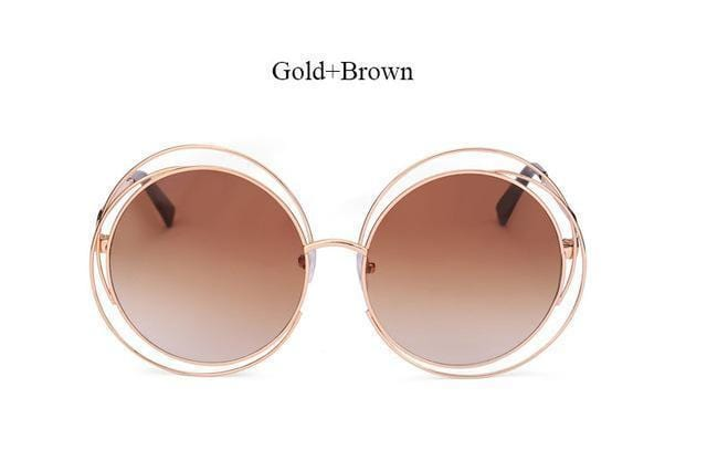 Women Round Shaped Reflector Sunglasses With 100 % UV 400 Protection-QF24 Gold Brown-JadeMoghul Inc.