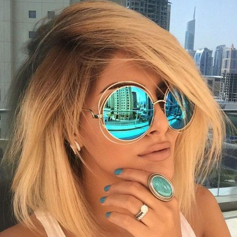 Women Round Shaped Reflector Sunglasses With 100 % UV 400 Protection-QF24 Gold Green-JadeMoghul Inc.
