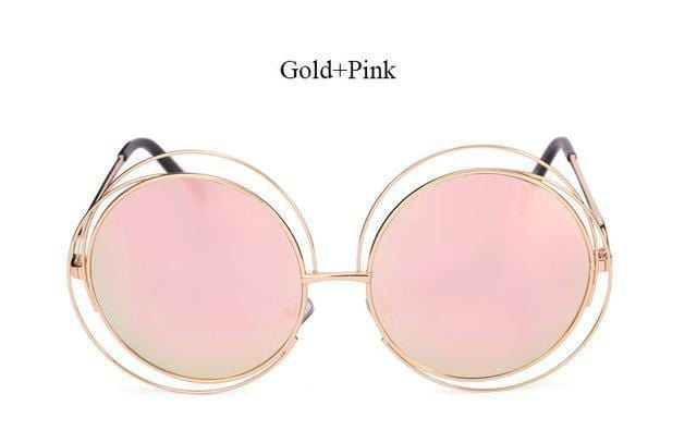 Women Round Shaped Reflector Sunglasses With 100 % UV 400 Protection-QF24 Gold Pink-JadeMoghul Inc.