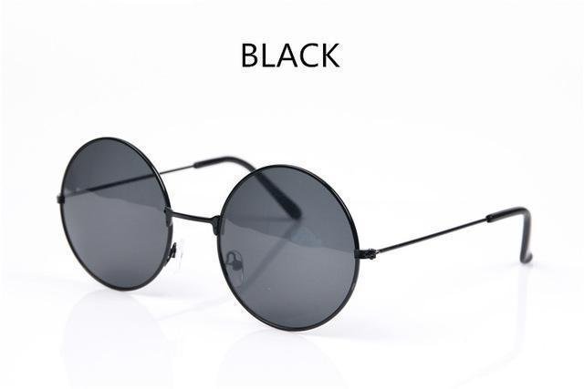 Women Round Shaped Sunglasses In Metal Alloy Frame With 100% UV 400 Protection-black-JadeMoghul Inc.