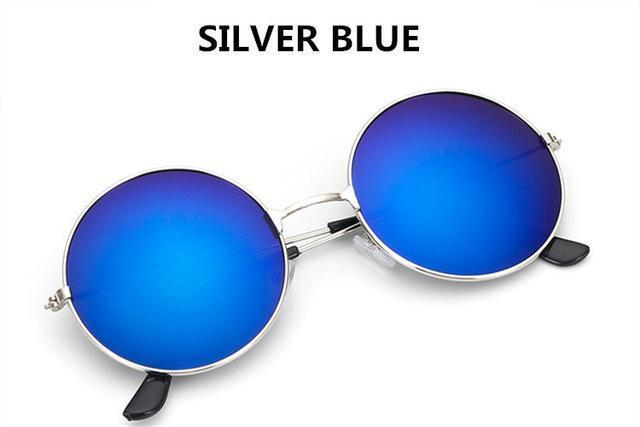 Women Round Shaped Sunglasses In Metal Alloy Frame With 100% UV 400 Protection-blue-JadeMoghul Inc.