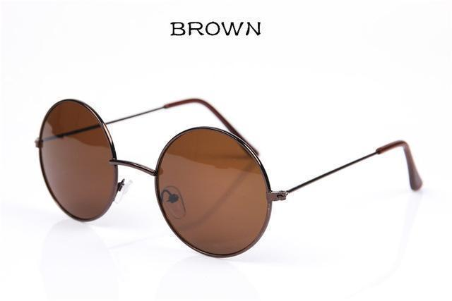 Women Round Shaped Sunglasses In Metal Alloy Frame With 100% UV 400 Protection-brown-JadeMoghul Inc.
