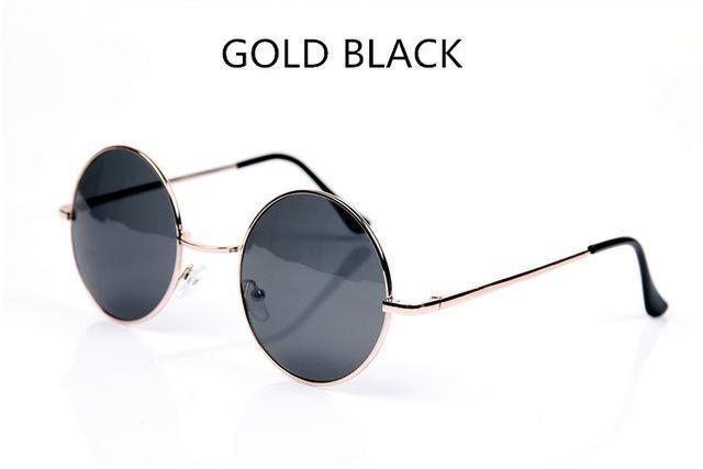 Women Round Shaped Sunglasses In Metal Alloy Frame With 100% UV 400 Protection-gold black-JadeMoghul Inc.