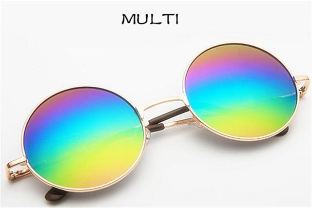 Women Round Shaped Sunglasses In Metal Alloy Frame With 100% UV 400 Protection-gold Multi-JadeMoghul Inc.