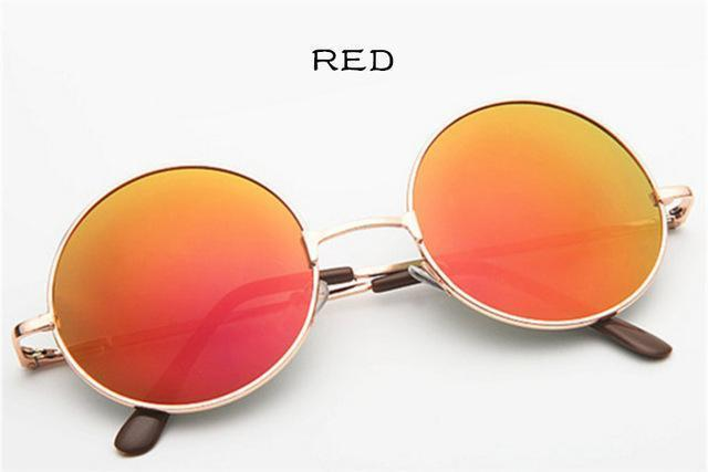 Women Round Shaped Sunglasses In Metal Alloy Frame With 100% UV 400 Protection-gold red-JadeMoghul Inc.