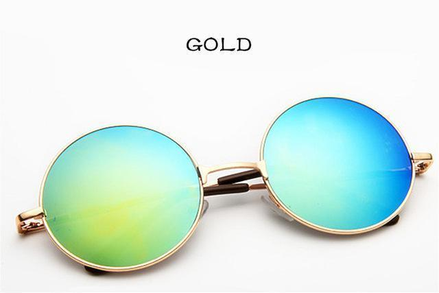Women Round Shaped Sunglasses In Metal Alloy Frame With 100% UV 400 Protection-gold silver-JadeMoghul Inc.