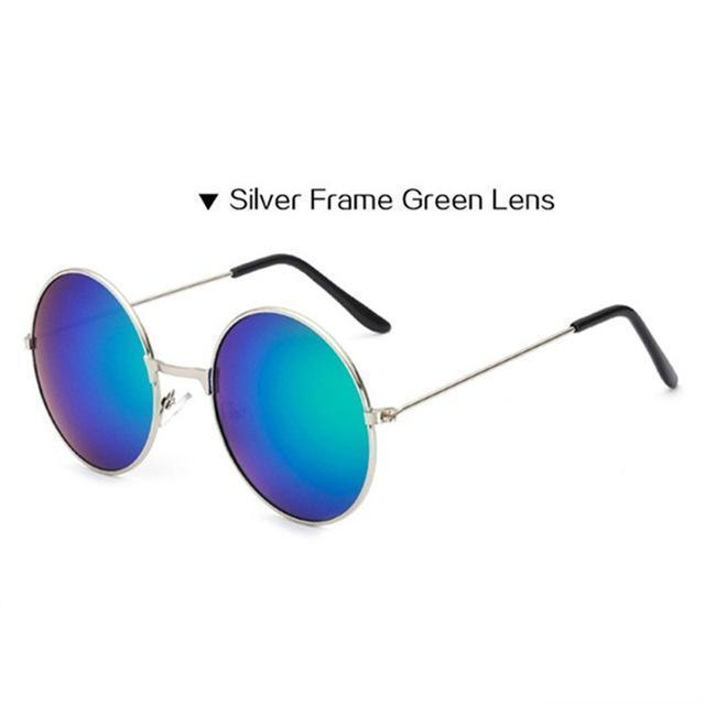 Women Round Shaped Sunglasses In Metal Alloy Frame With 100% UV 400 Protection-Silver green-JadeMoghul Inc.