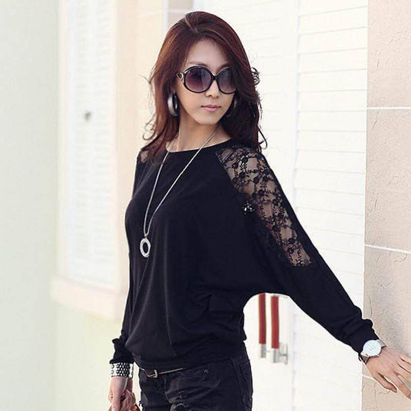 Women's Batwing Sleeve Shirt With Lace Detailing AExp