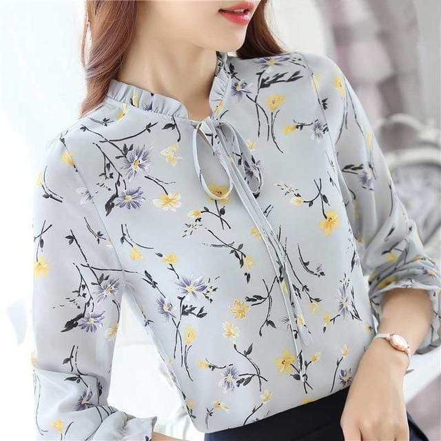Women's  Chiffon Long Sleeved Floral Shirt Top With Ruffled Collar AExp
