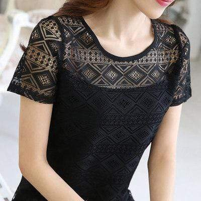 Women's Elegant Chiffon top With Lace Details In Solid Colors AExp