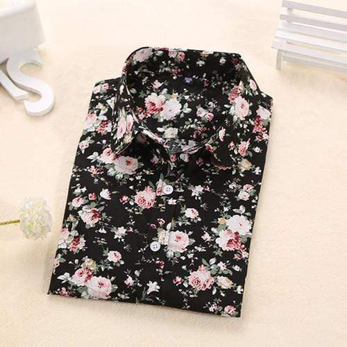 Women's Floral Long Sleeved  Turn Down Collar  Shirt Top AExp