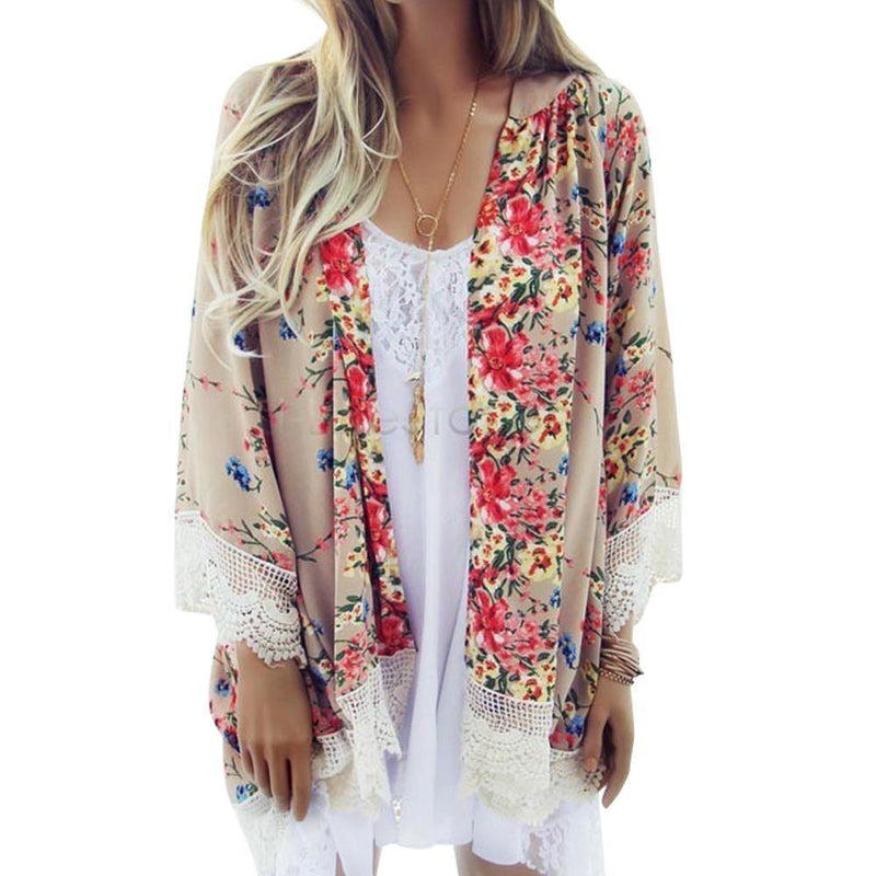 Women's Floral Patterned Kimono Cardigan  Top With Batwing Sleeves And Tassels AExp