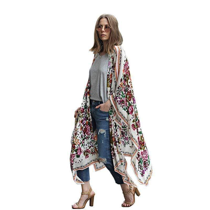 Women's Long Floral Patterned  Chiffon Kimono  Cardigan. Perfect as a beach Cover-up AExp