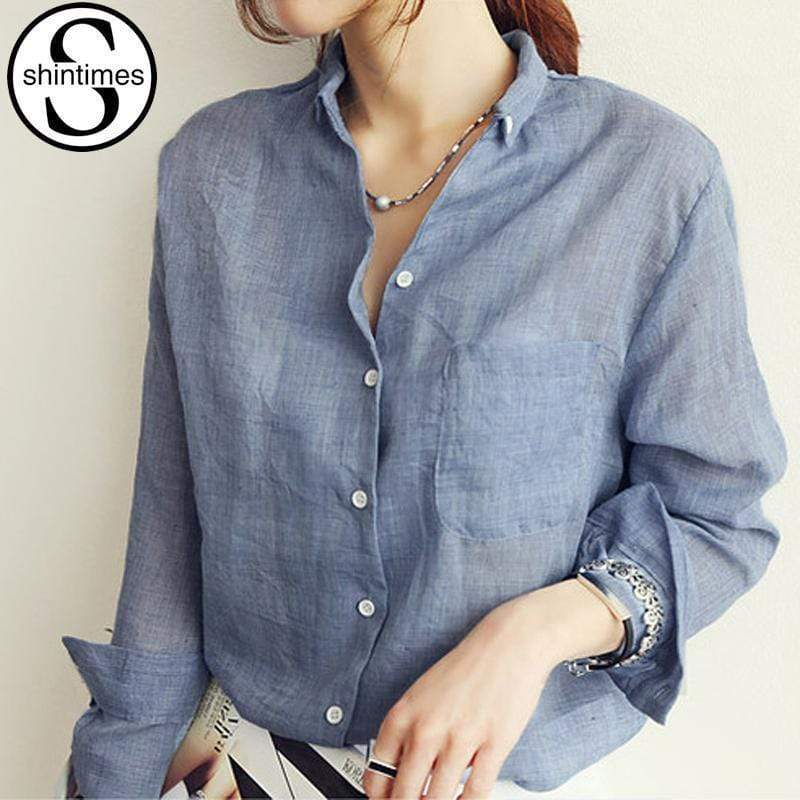 Women's Long Sleeved Shirt Top With Turn Down Collar AExp