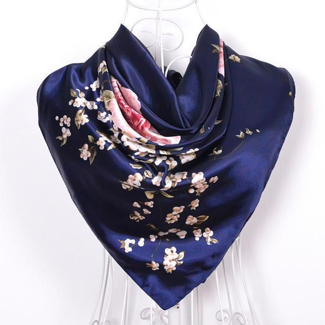 Women Satin Silk Blossoms Print Scarf-navy blue-JadeMoghul Inc.