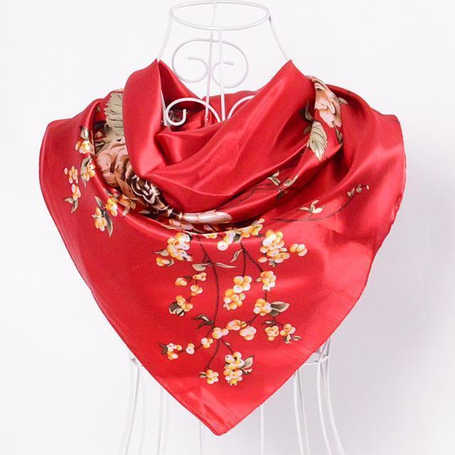 Women Satin Silk Blossoms Print Scarf-red-JadeMoghul Inc.