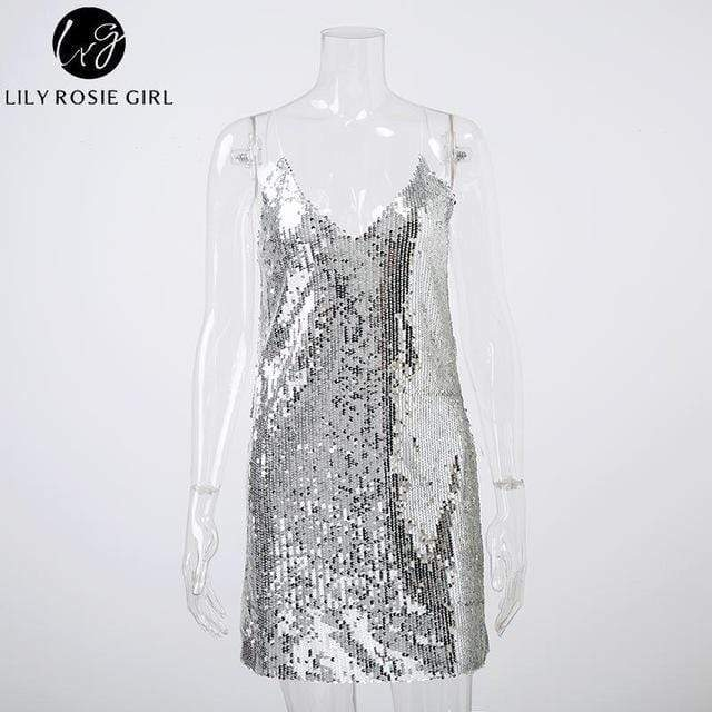 Women Sequined Back Less  Mini Dress AExp