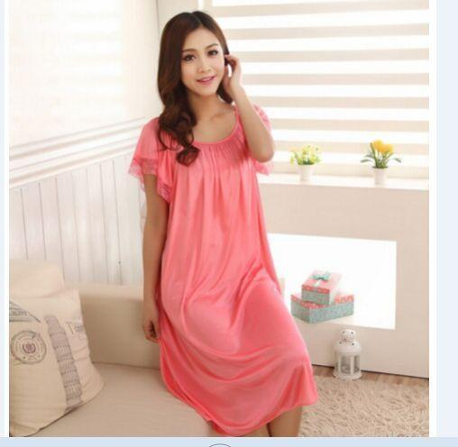 Women Short Sleeves Silk Night Gown In Solid Colors And Lace Trim AExp