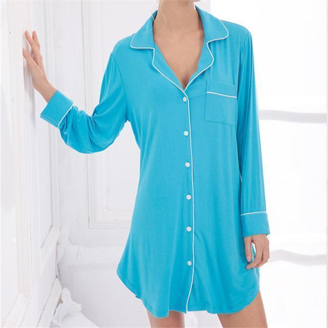 Women silk Button Down front Sleep Shirt In Solid Colors-As Shouw 1-M-JadeMoghul Inc.