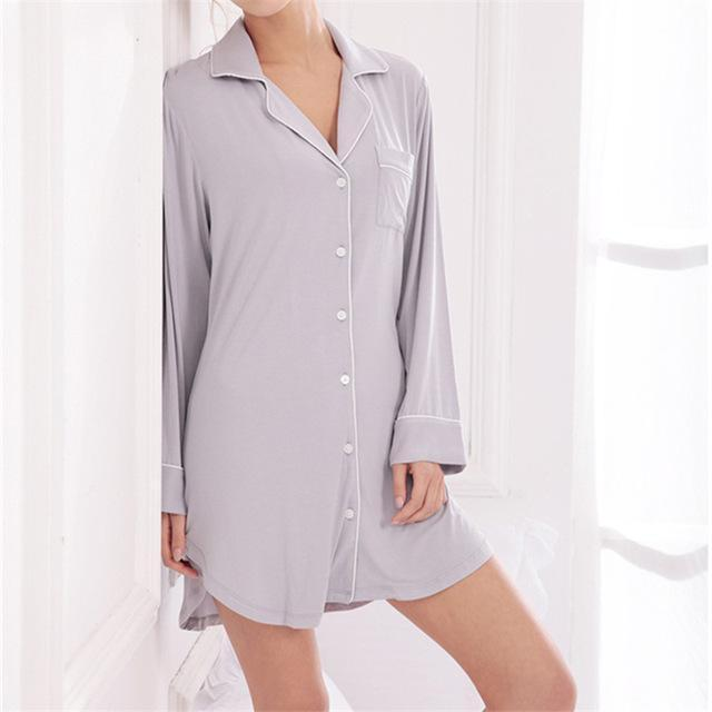 Women silk Button Down front Sleep Shirt In Solid Colors-Gray-M-JadeMoghul Inc.