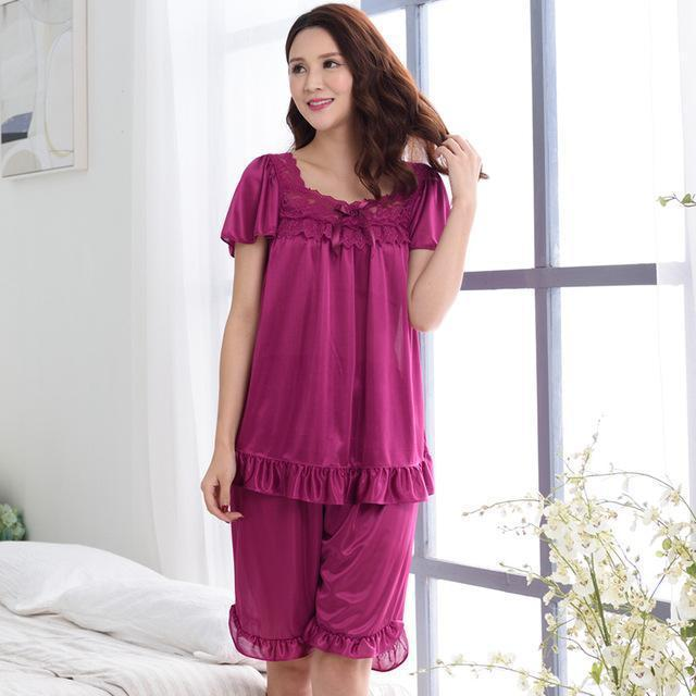 Women Silk Lace Trimmed Night Gown / 2 Piece Short Set-6011fuchsia-M-JadeMoghul Inc.