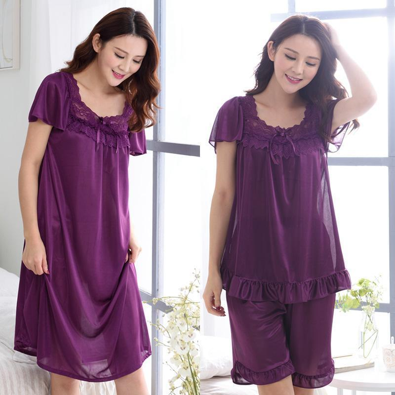 Women Silk Lace Trimmed Night Gown / 2 Piece Short Set-6011purple-M-JadeMoghul Inc.