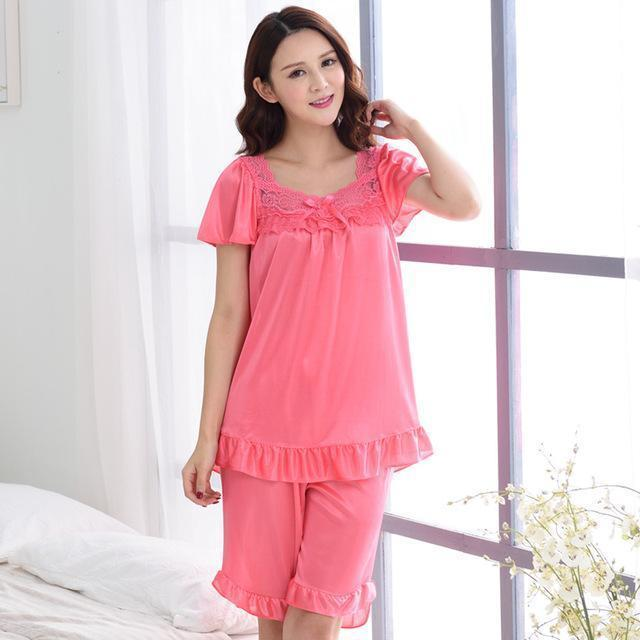 Women Silk Lace Trimmed Night Gown / 2 Piece Short Set-6011Watermelon red-M-JadeMoghul Inc.